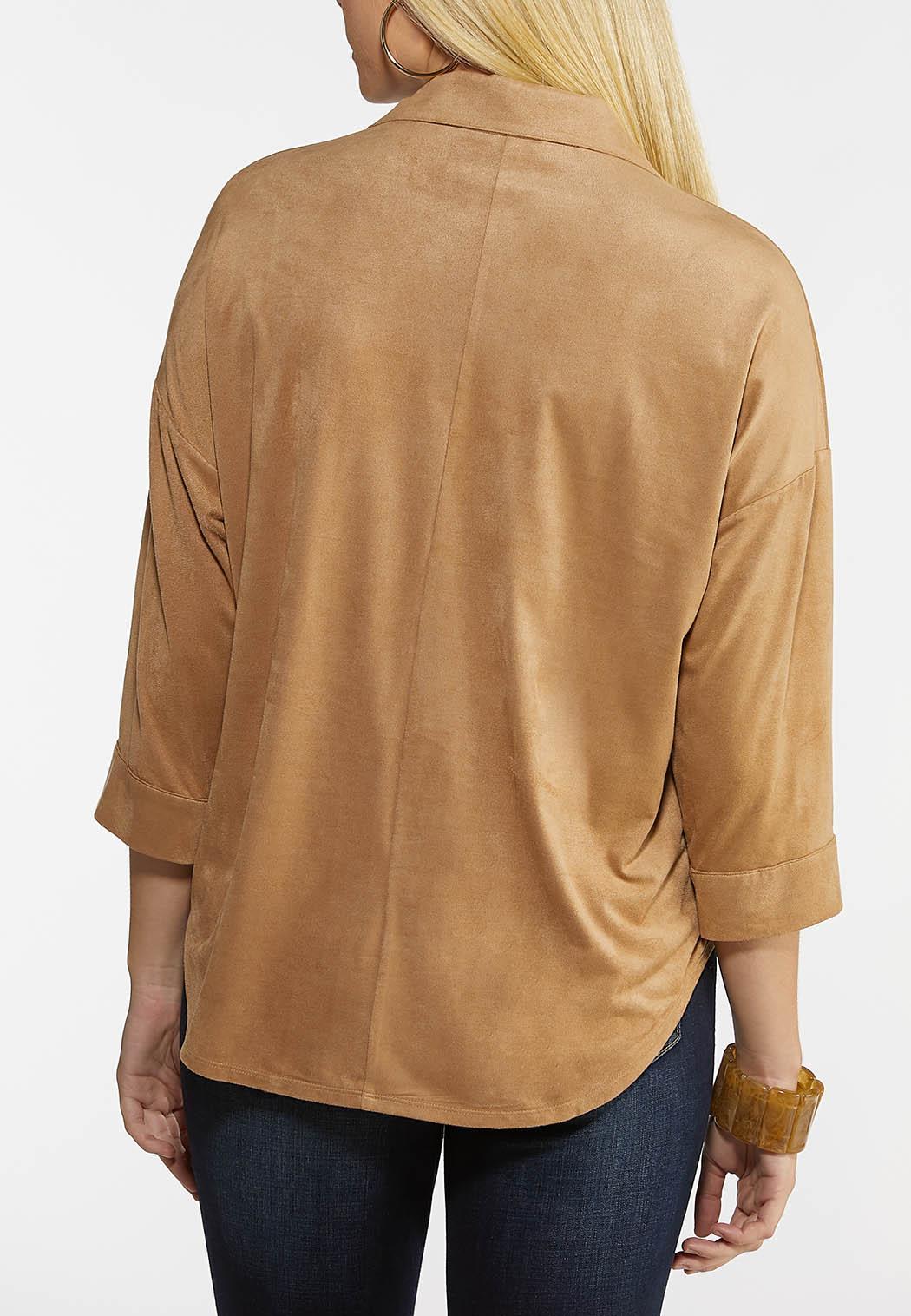 Plus Size Faux Suede Shirt (Item #44059102)