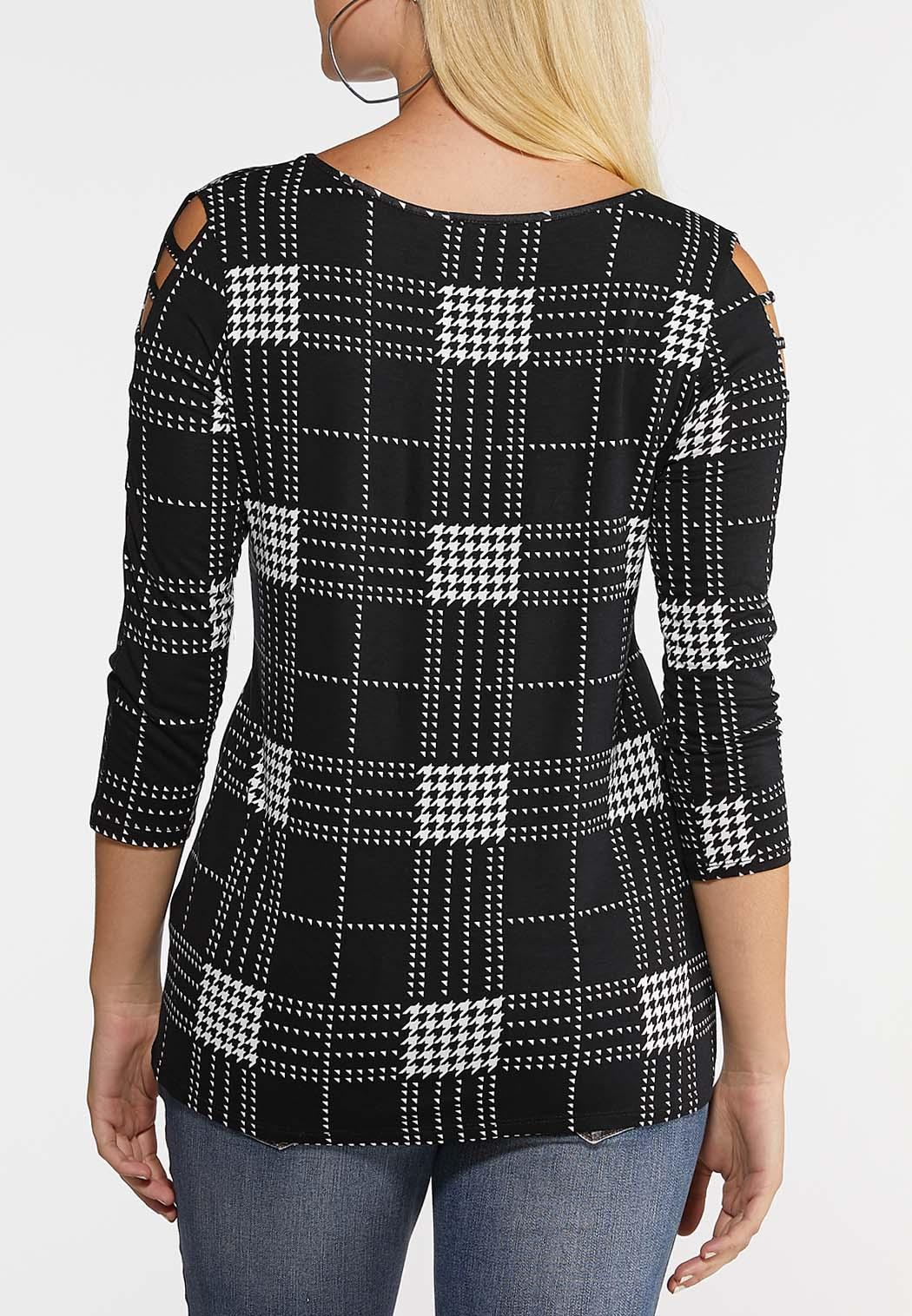 Plus Size Houndstooth Lattice Sleeve Top (Item #44059275)