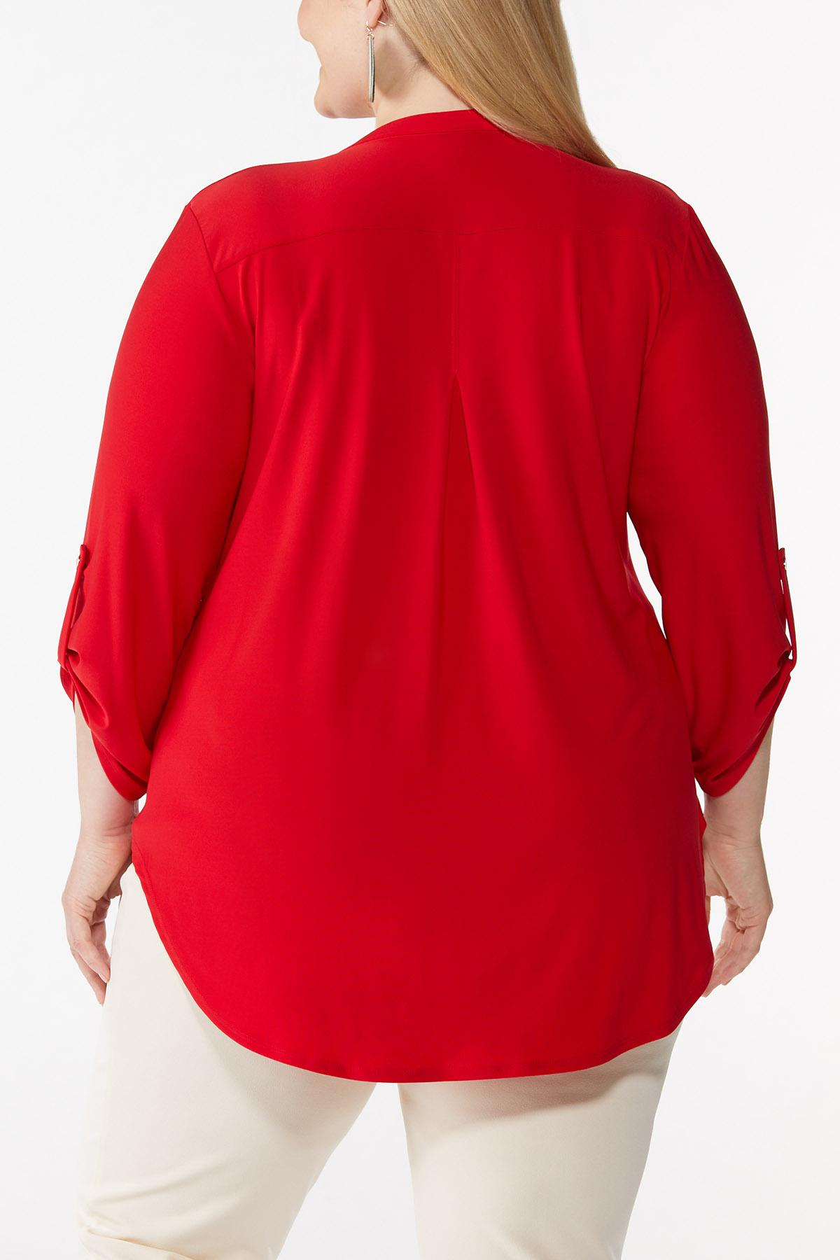 Plus Size Solid Scrunch Sleeve Top (Item #44060013)