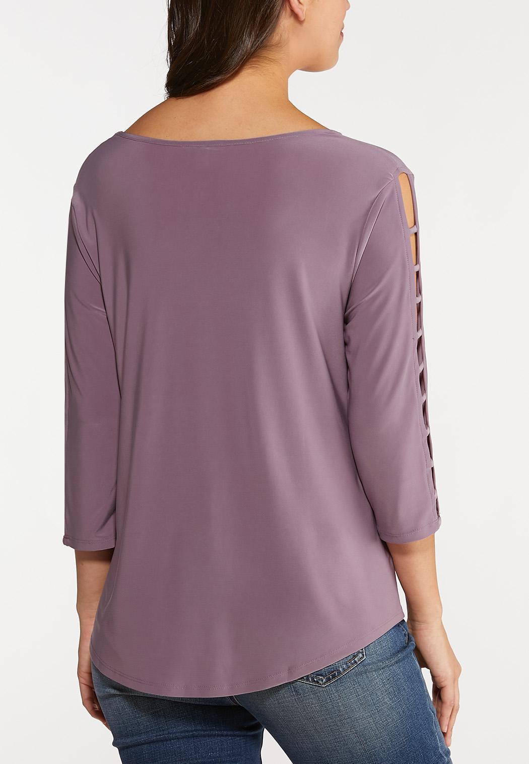 Plus Size Lavender Lattice Sleeve Top (Item #44060342)