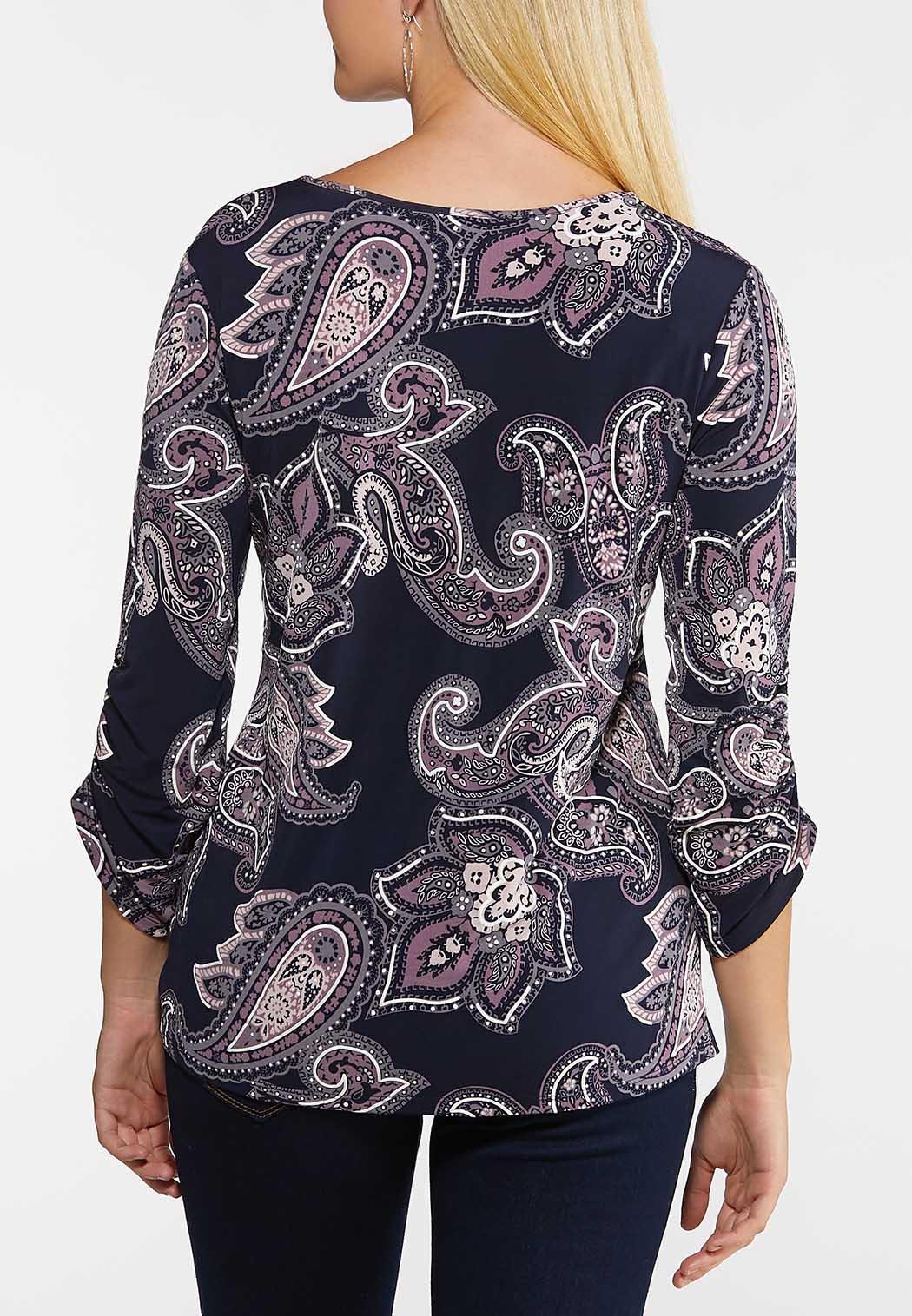 Plus Size Purple Paisley Top (Item #44060774)