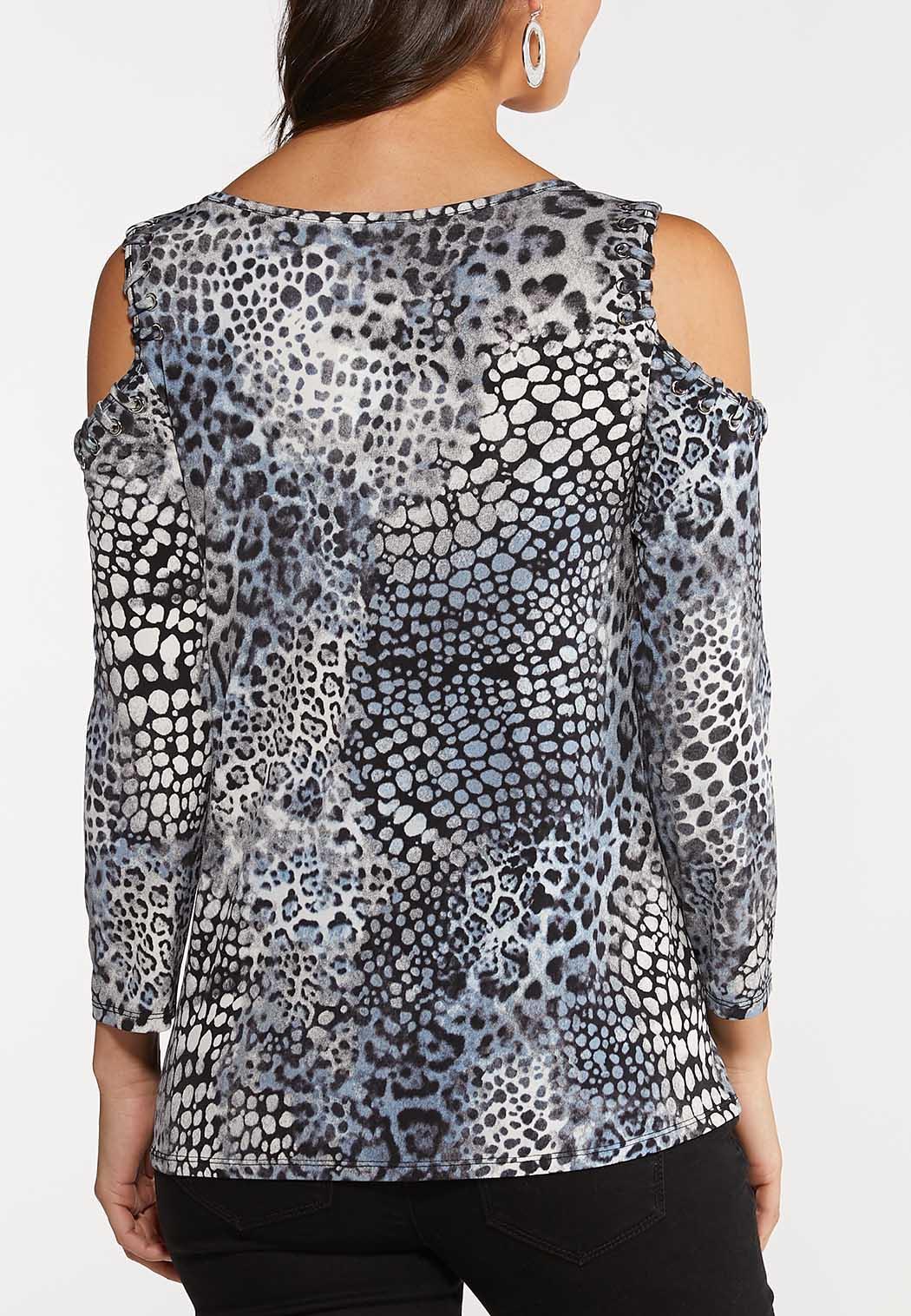 Plus Size Leopard Cold Shoulder Top (Item #44060793)