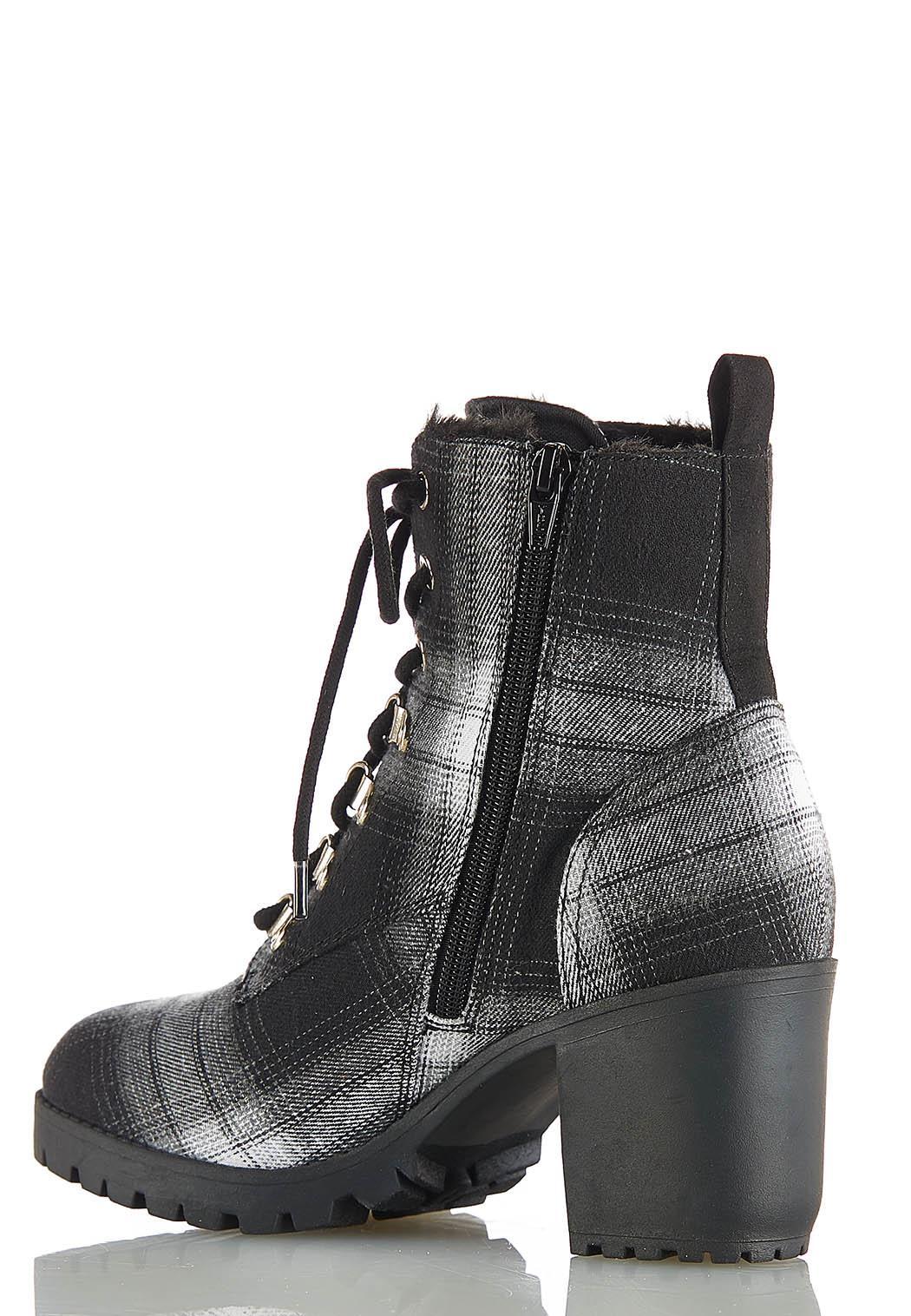 Plaid Lug Heeled Boots (Item #44061367)