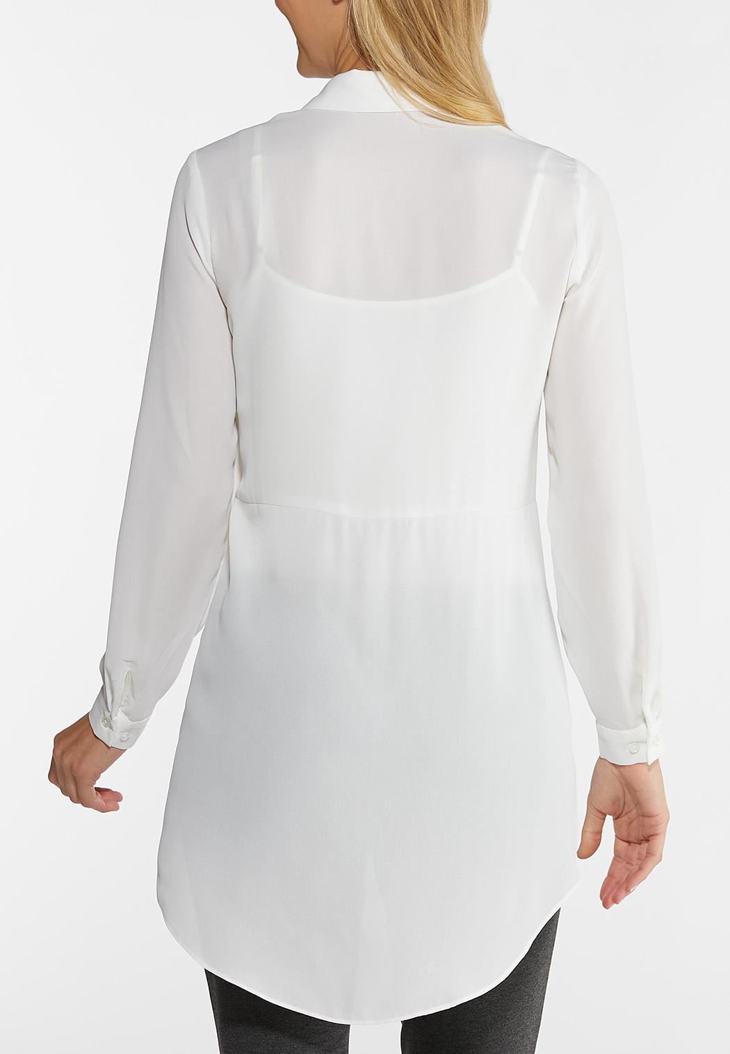 Plus Size Dressy Tie Front Tunic (Item #44062639)