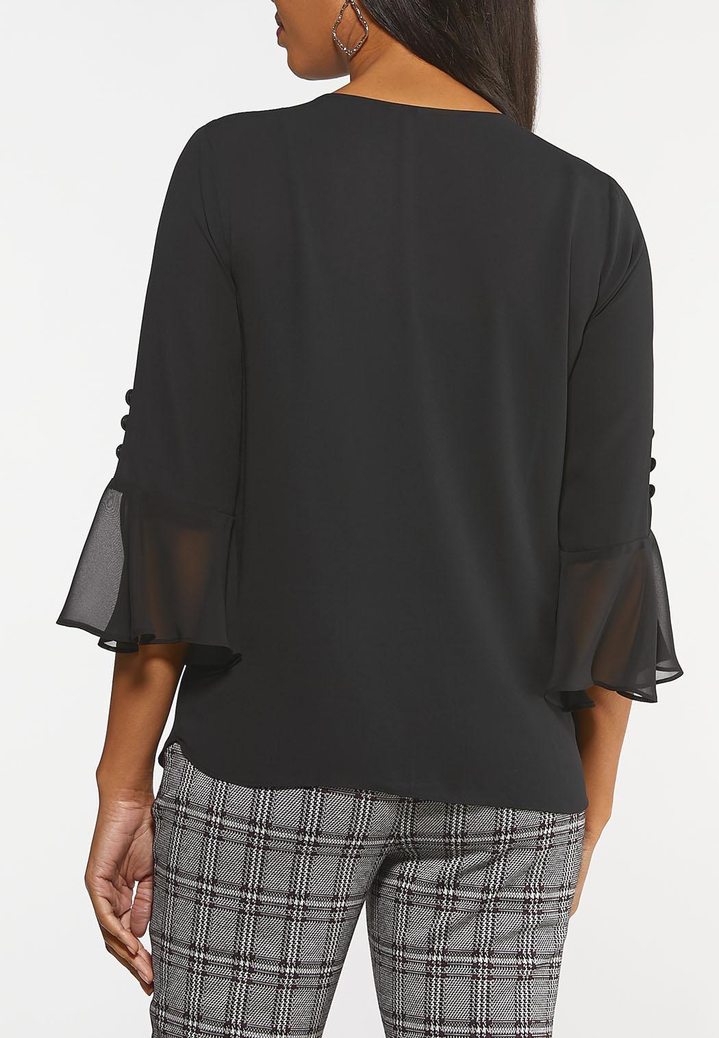 Plus Size Chiffon Bell Sleeve Top (Item #44062724)