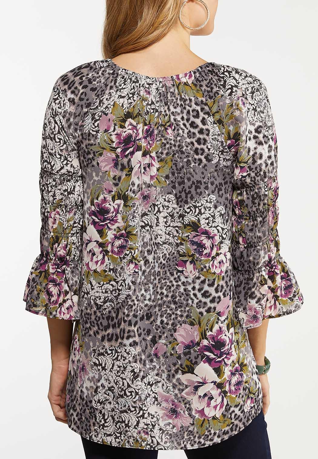 Plus Size Smocked Lavender Floral Top (Item #44062770)