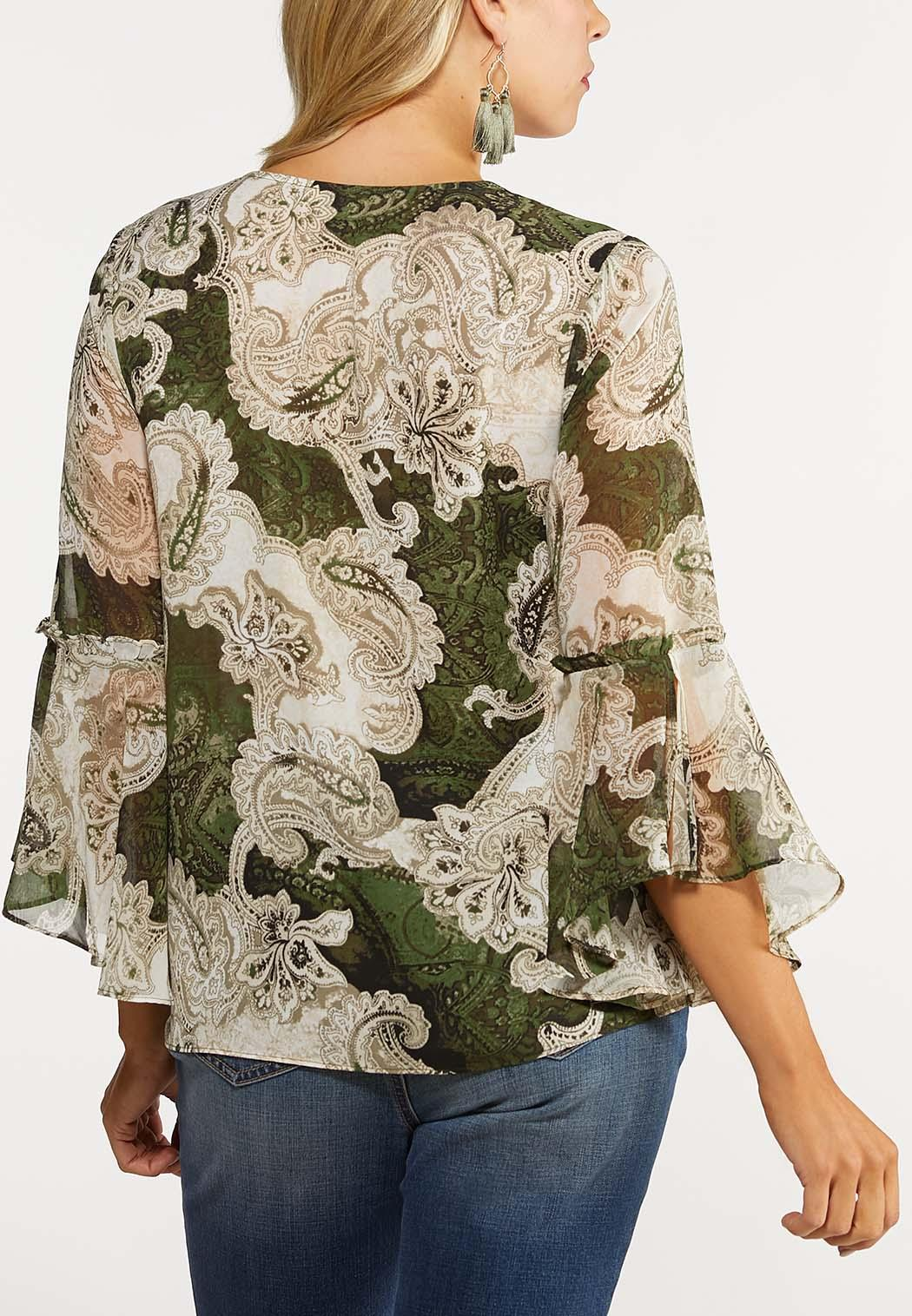 Plus Size Bell Sleeve Paisley Top (Item #44062920)