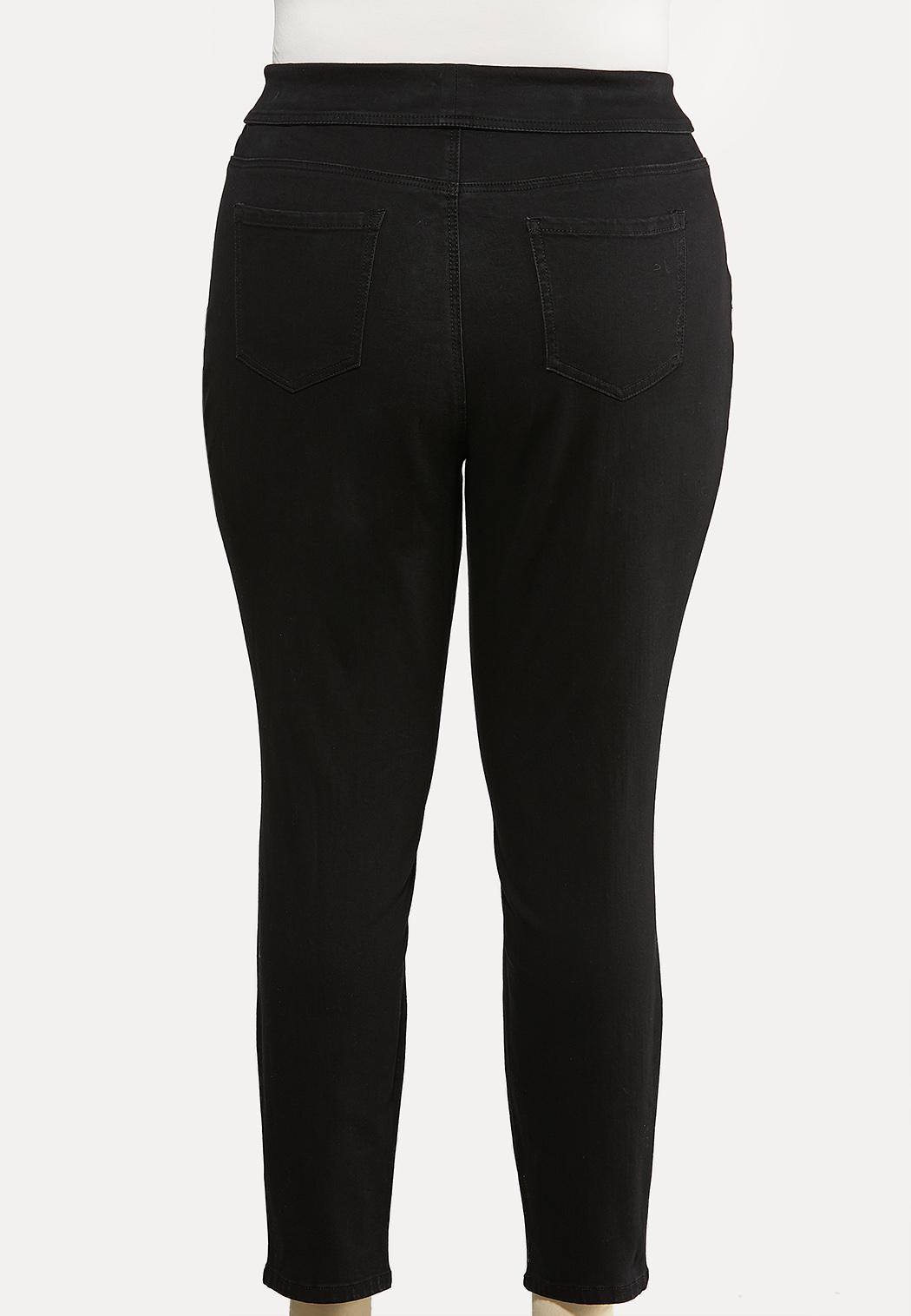 Plus Size Fold Over Skinny Jeans (Item #44063978)