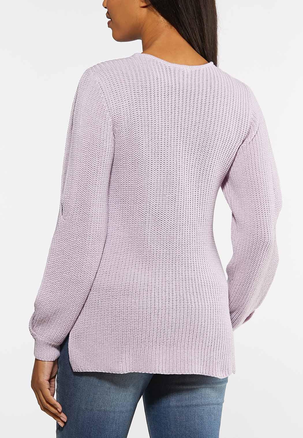 Plus Size Lavender Cutout Sleeve Sweater (Item #44064102)