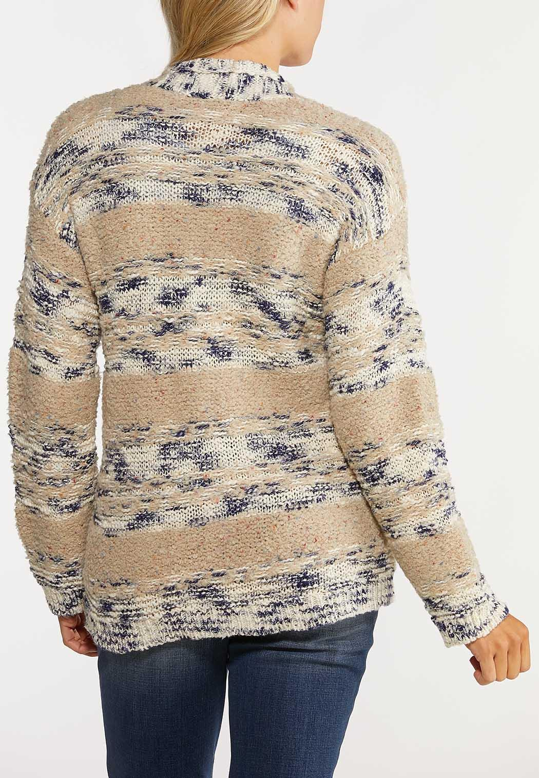 Plus Size Neutral Navy Cardigan Sweater (Item #44064132)