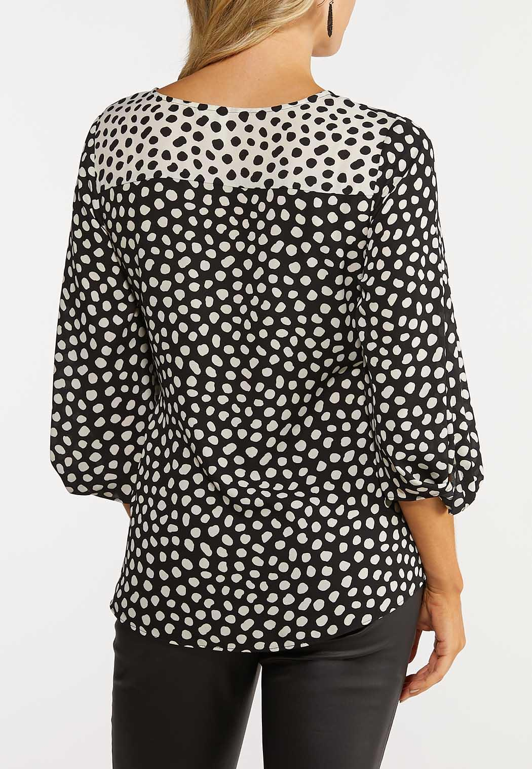 Polka Dot Tie Front Top (Item #44064356)