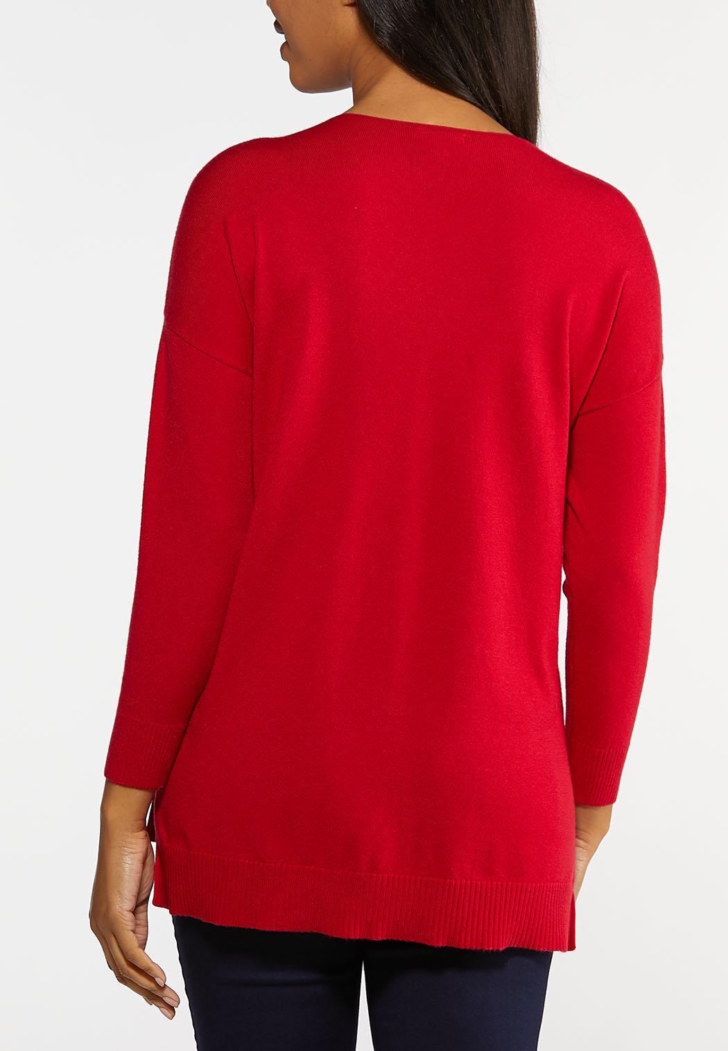 Plus Size Seamed V-Neck Sweater (Item #44066241)