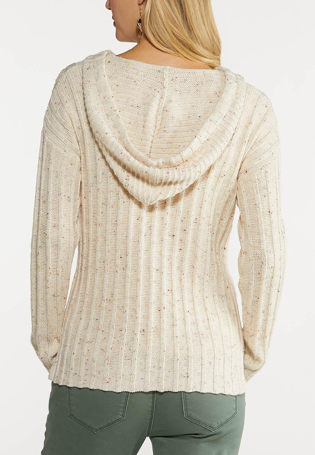 Plus Size Speckled Cable Knit Sweater (Item #44067142)