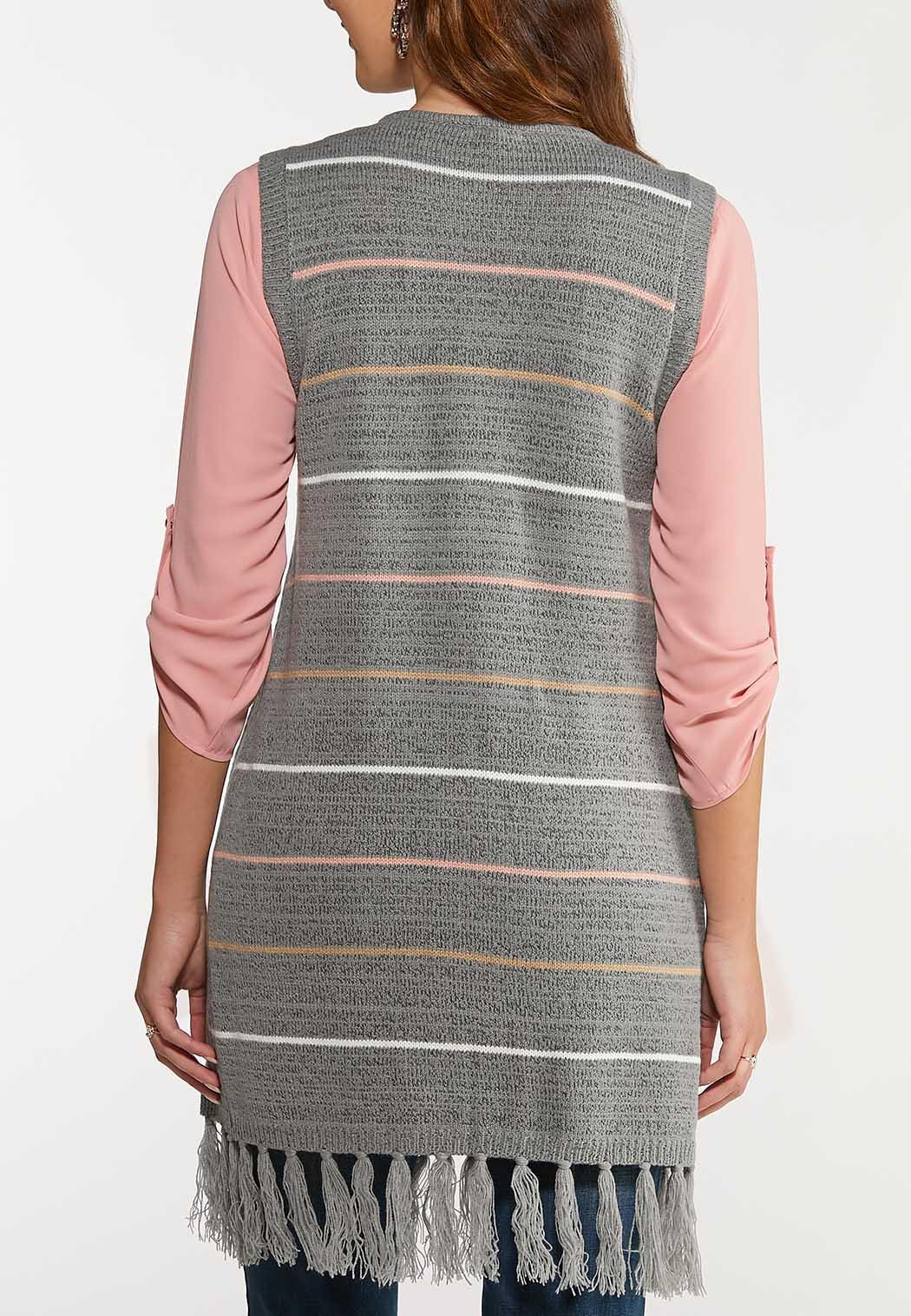 Plus Size Stripe Hooded Vest (Item #44067958)