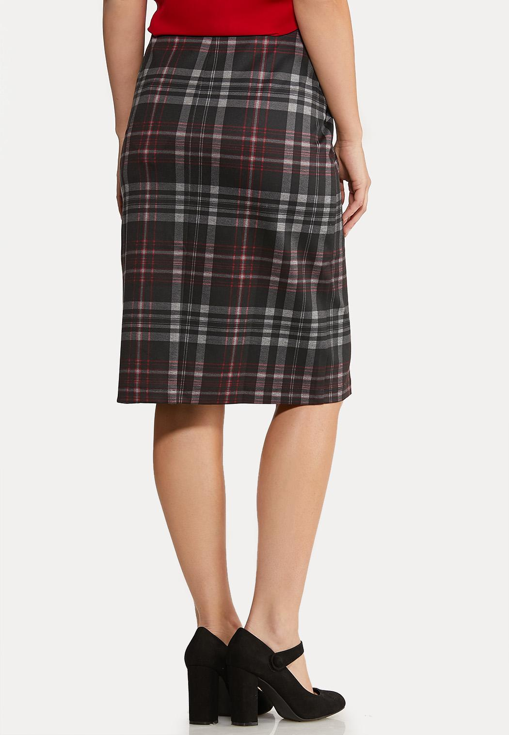Button Plaid Pencil Skirt  (Item #44068110)