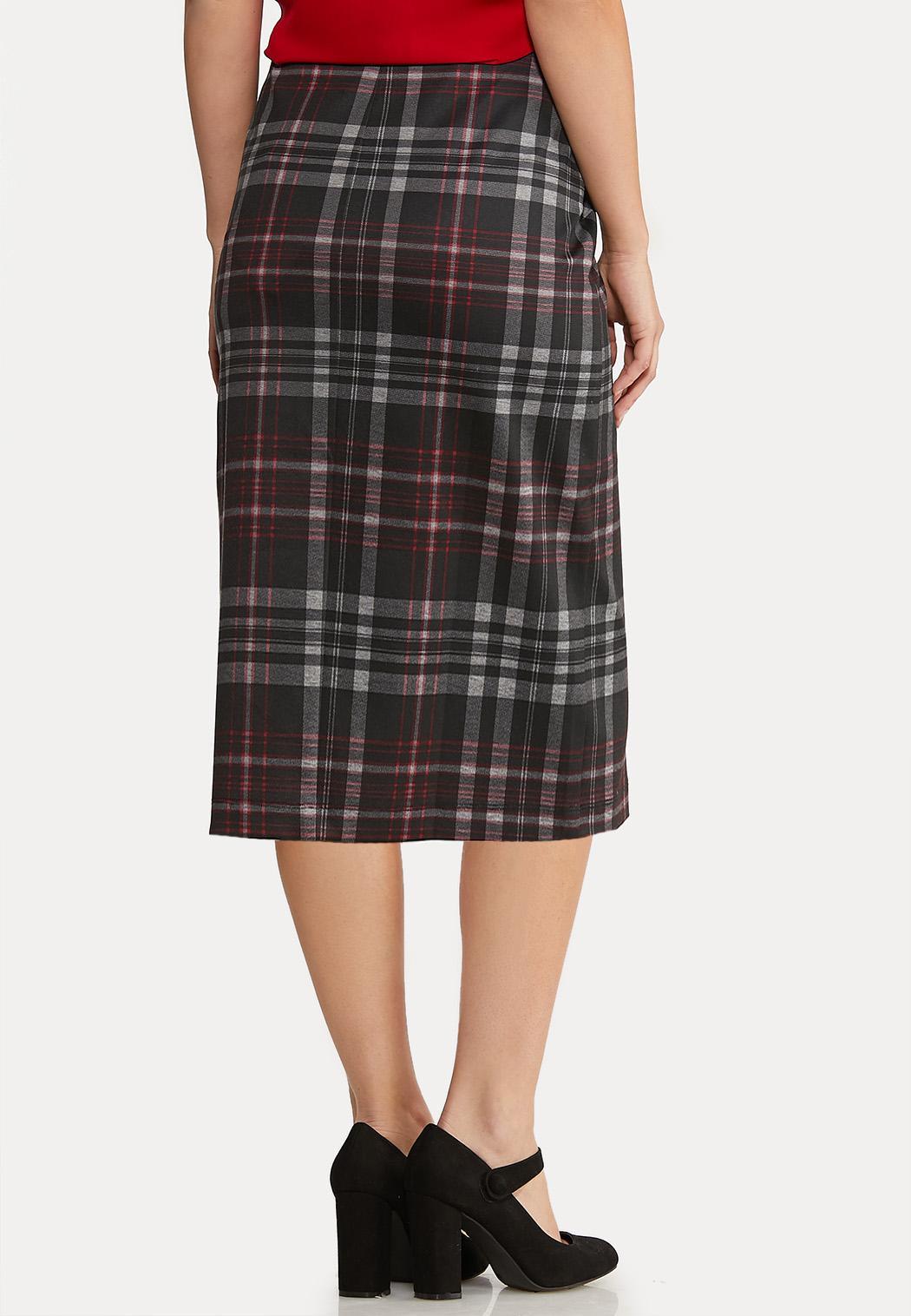 Plus Size Button Plaid Pencil Skirt  (Item #44068123)