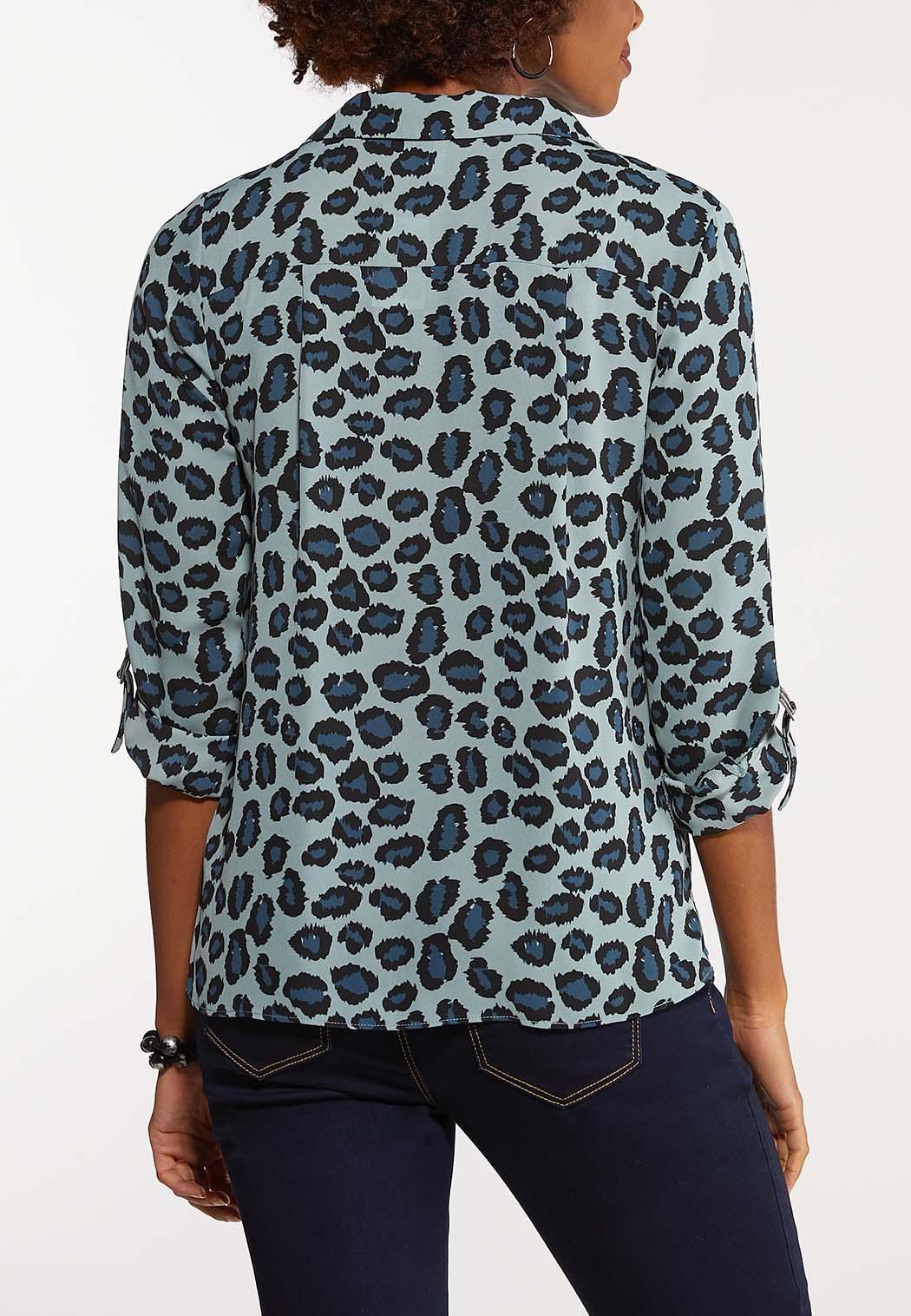 Plus Size Blue Gray Leopard Top (Item #44068134)