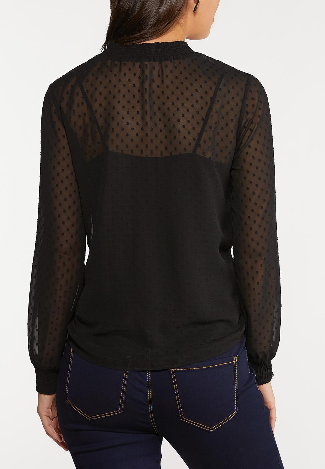 Plus Size Textured Tie Front Top (Item #44068236)