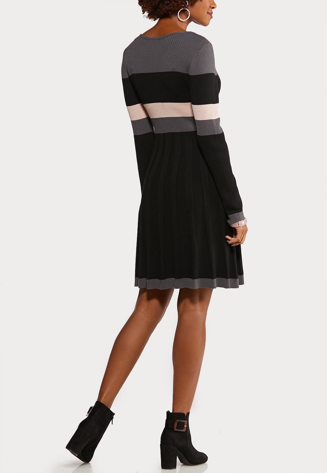 Plus Size Colorblock Sweater Dress (Item #44069953)