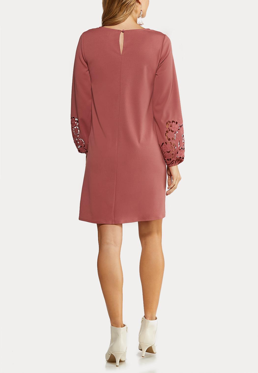 Plus Size Cutout Floral Sleeve Shift Dress (Item #44070320)