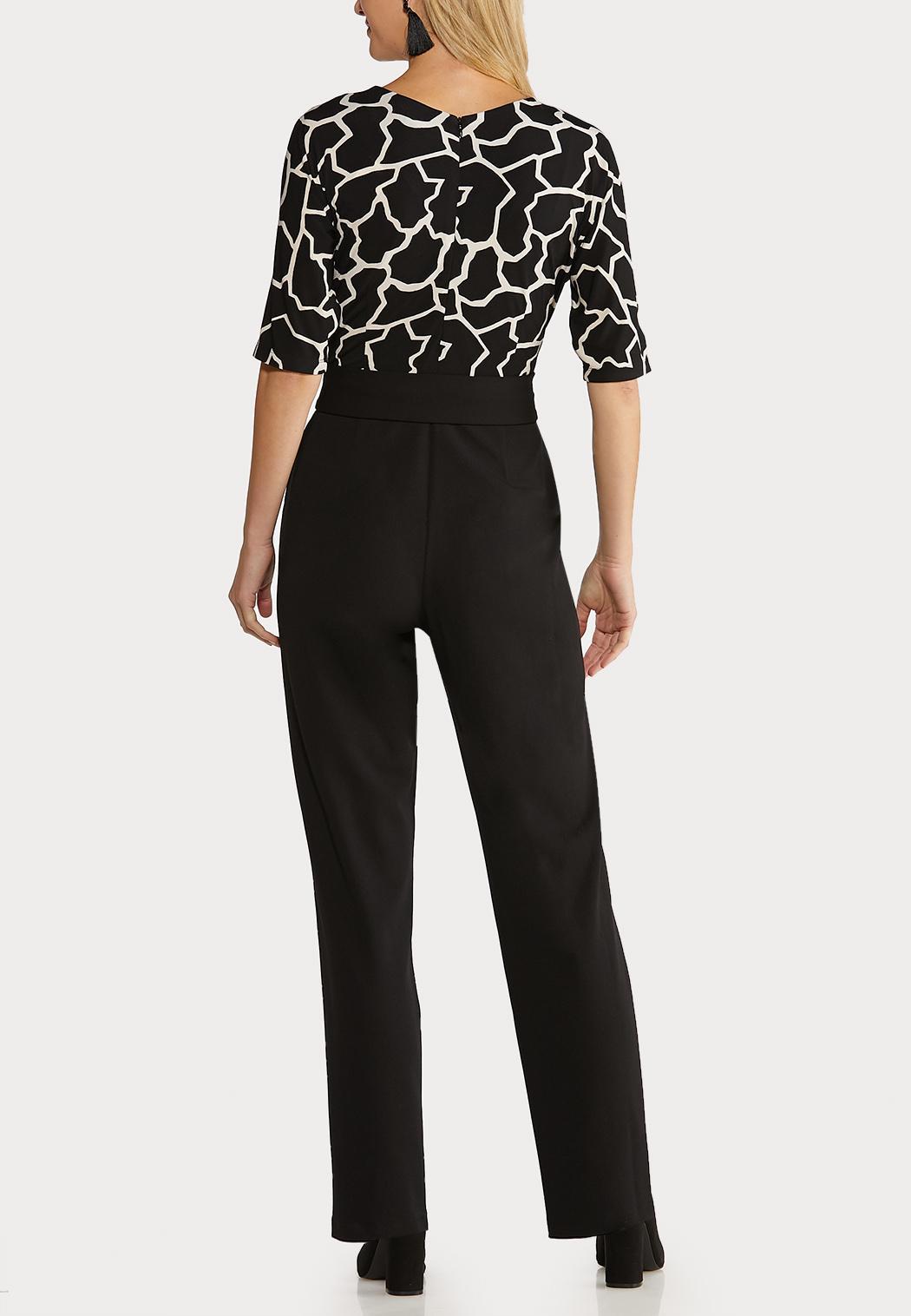 Black White Belted Jumpsuit (Item #44070383)