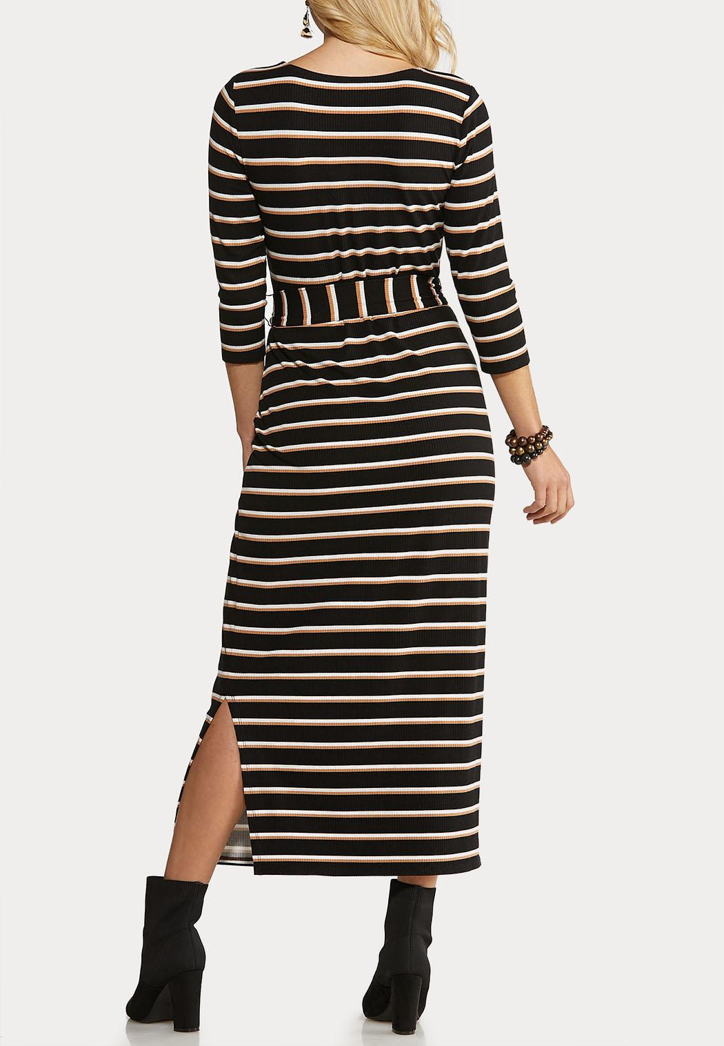Belted Stripe Knit Dress (Item #44070431)