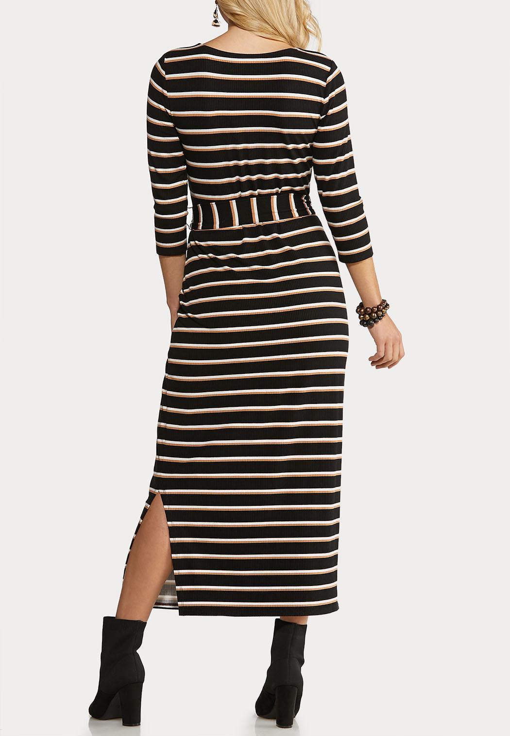 Plus Size Belted Stripe Knit Dress (Item #44070443)