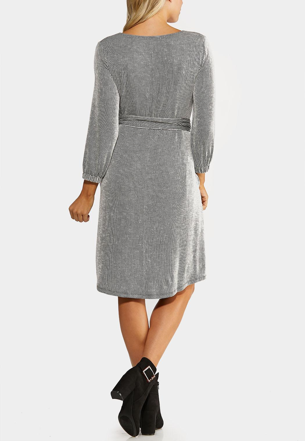 Plus Size Belted Ribbed Knit Dress (Item #44070462)
