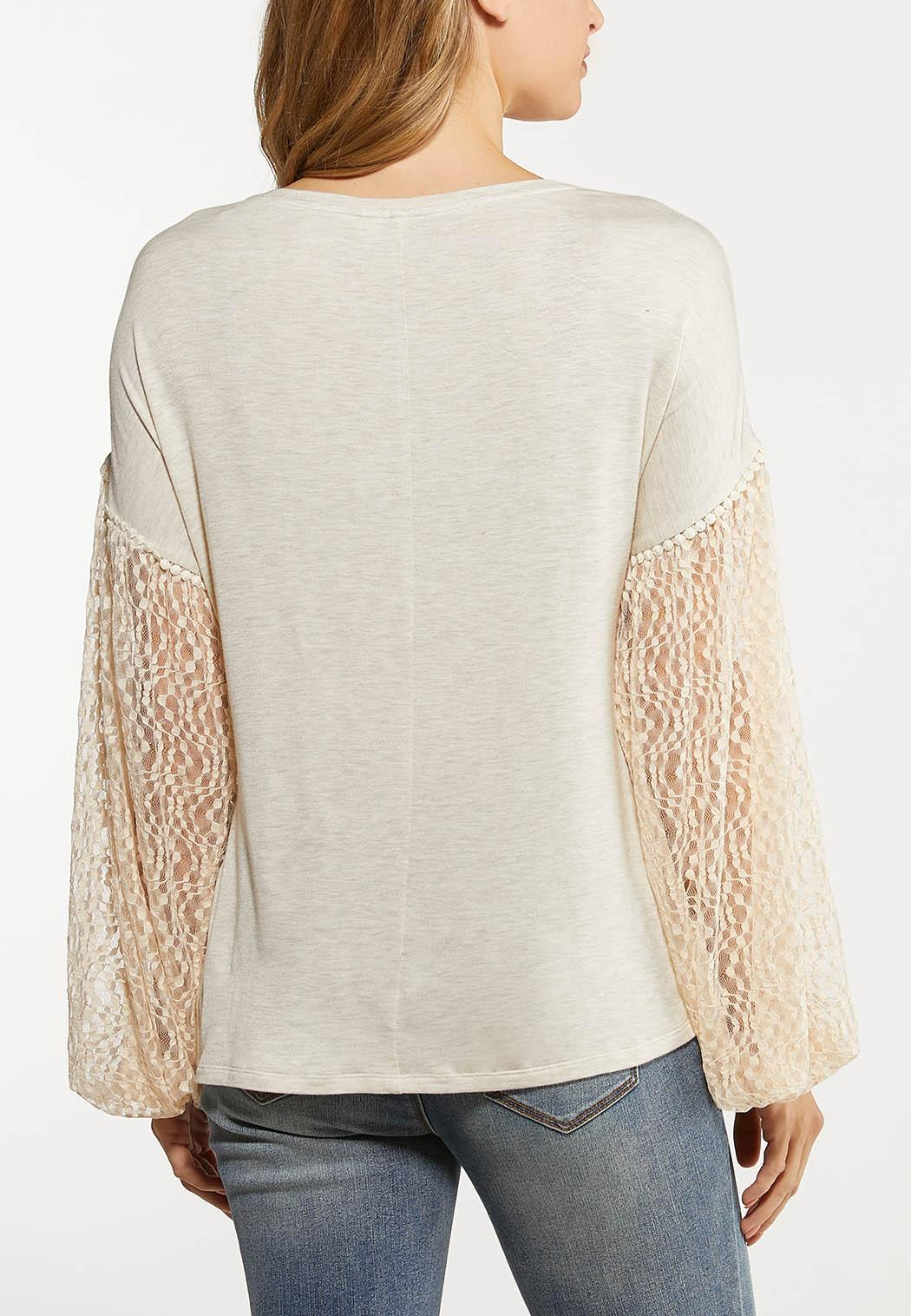 Oatmeal Lace Sleeve Top (Item #44070737)