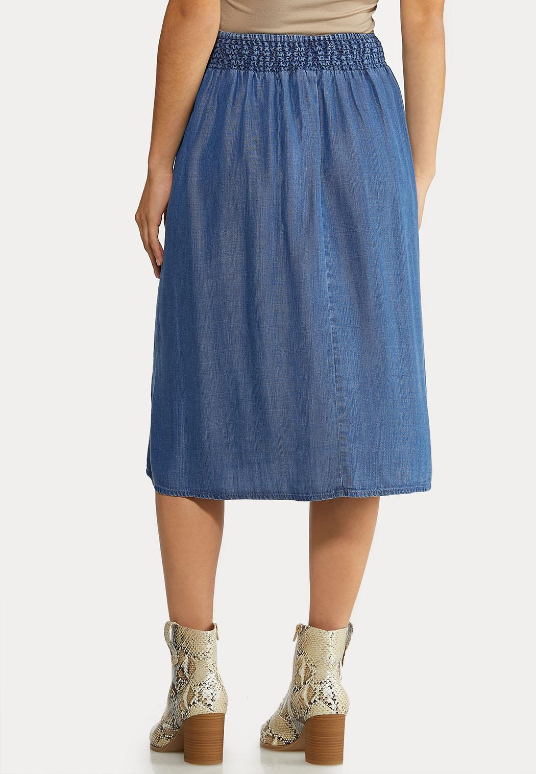 Chambray Button Down Skirt (Item #44070991)