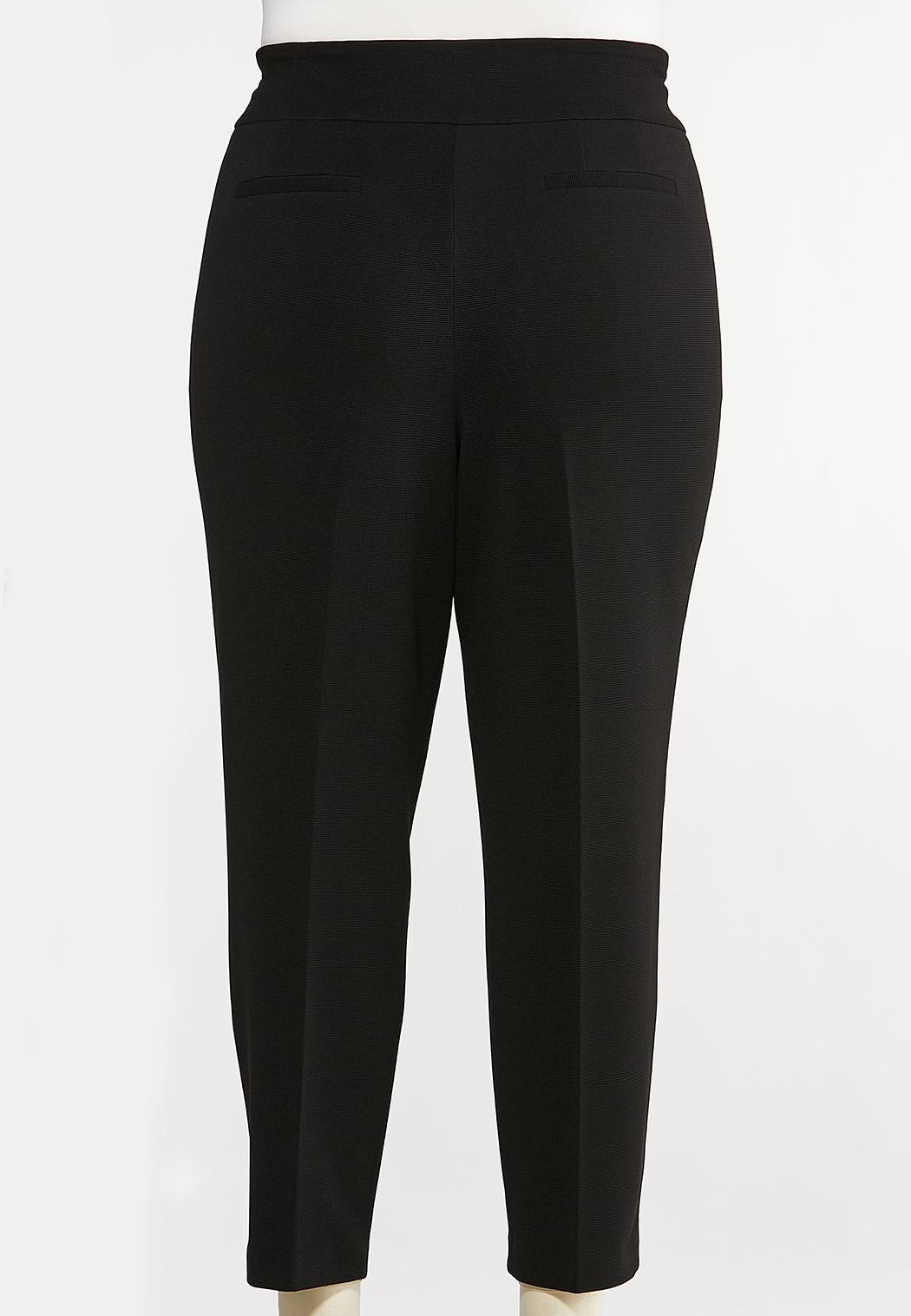 Plus Size Textured Slim Pants (Item #44071700)