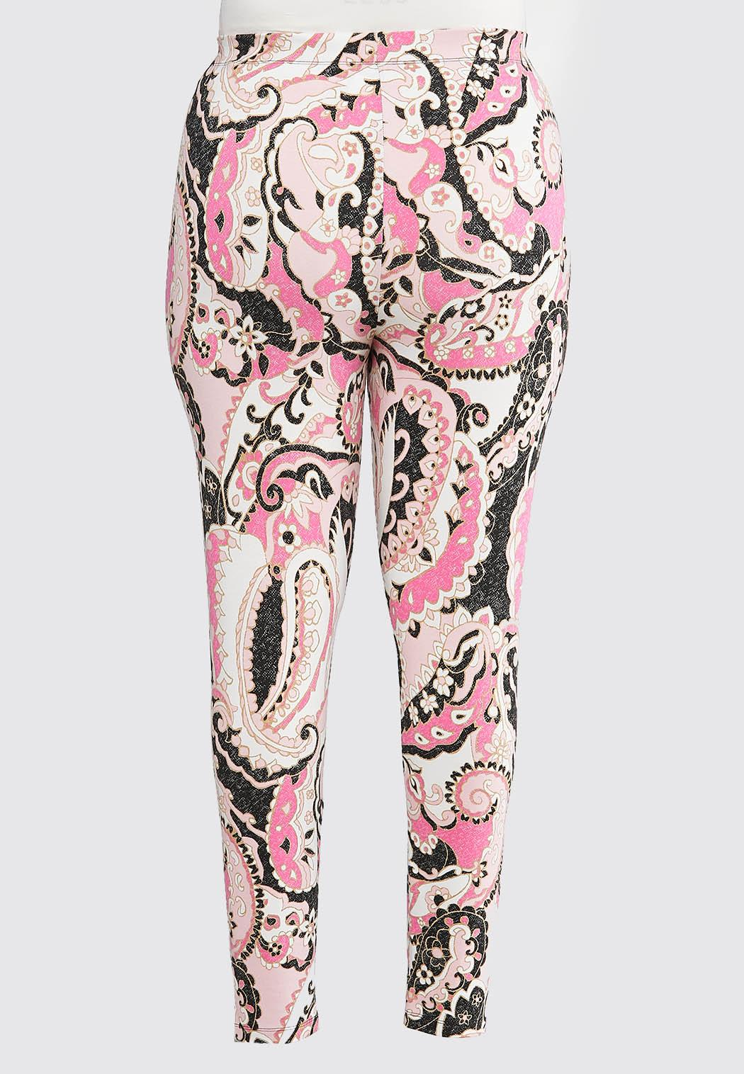 Plus Size Pink Paisley Leggings (Item #44071878)