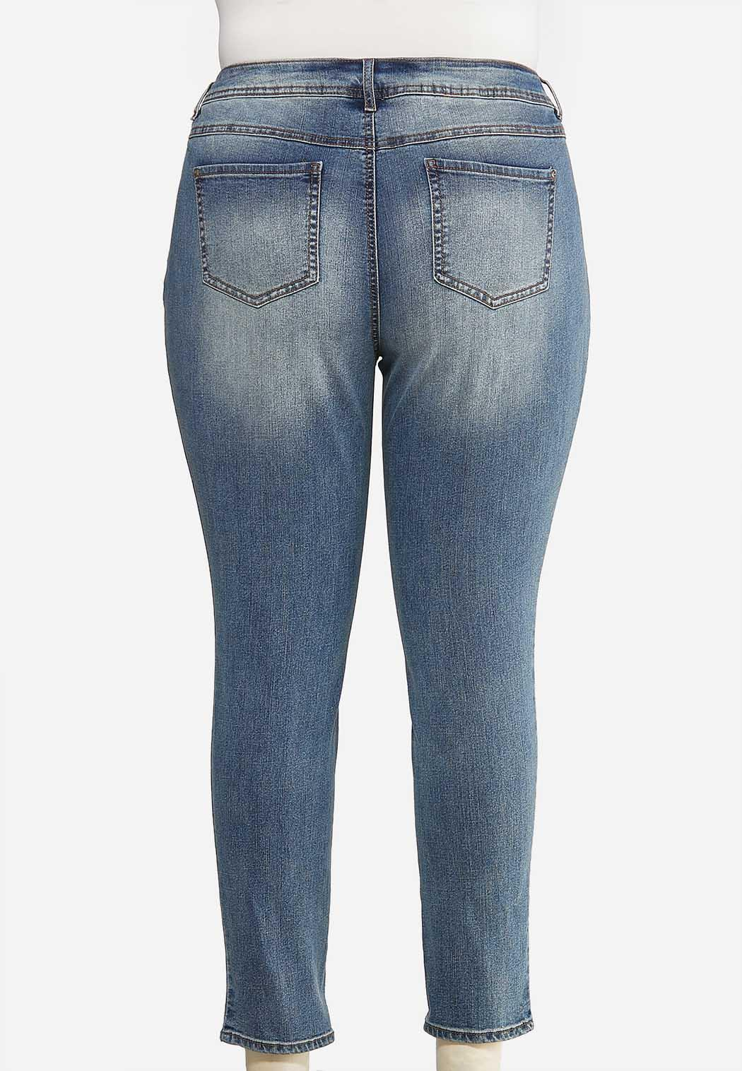 Plus Size Faded Skinny Ankle Jeans (Item #44072143)