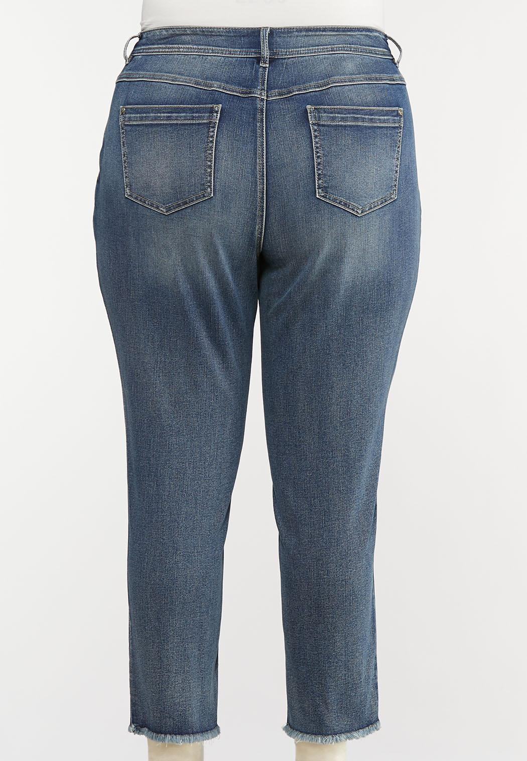Plus Size Fray Hem Utility Jeans (Item #44072220)