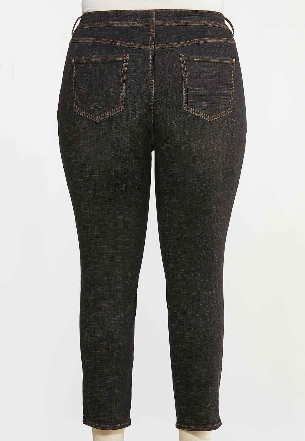 Plus Size Black High Waist Jeans (Item #44072285)