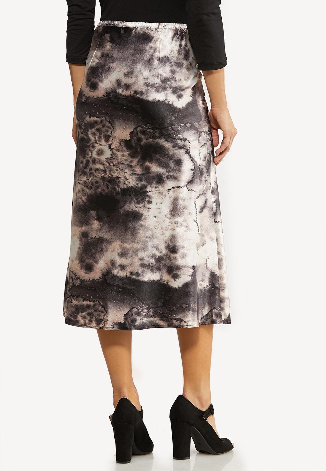 Plus Size Marble Dye Slip Skirt (Item #44072461)