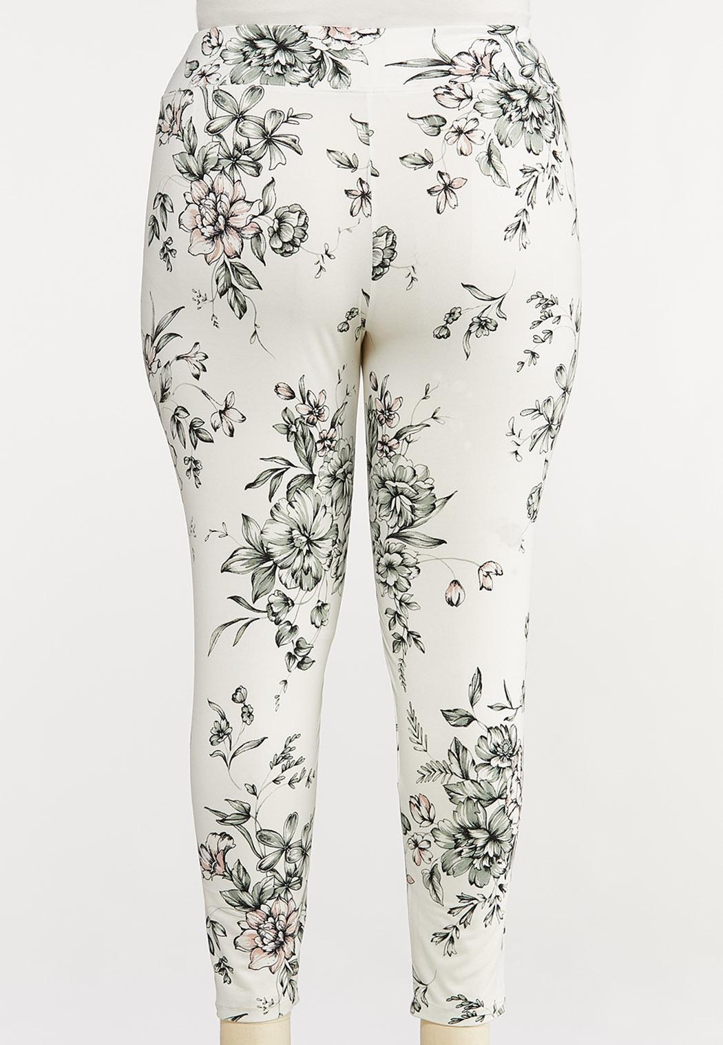 Plus Size Floral Leggings (Item #44072923)