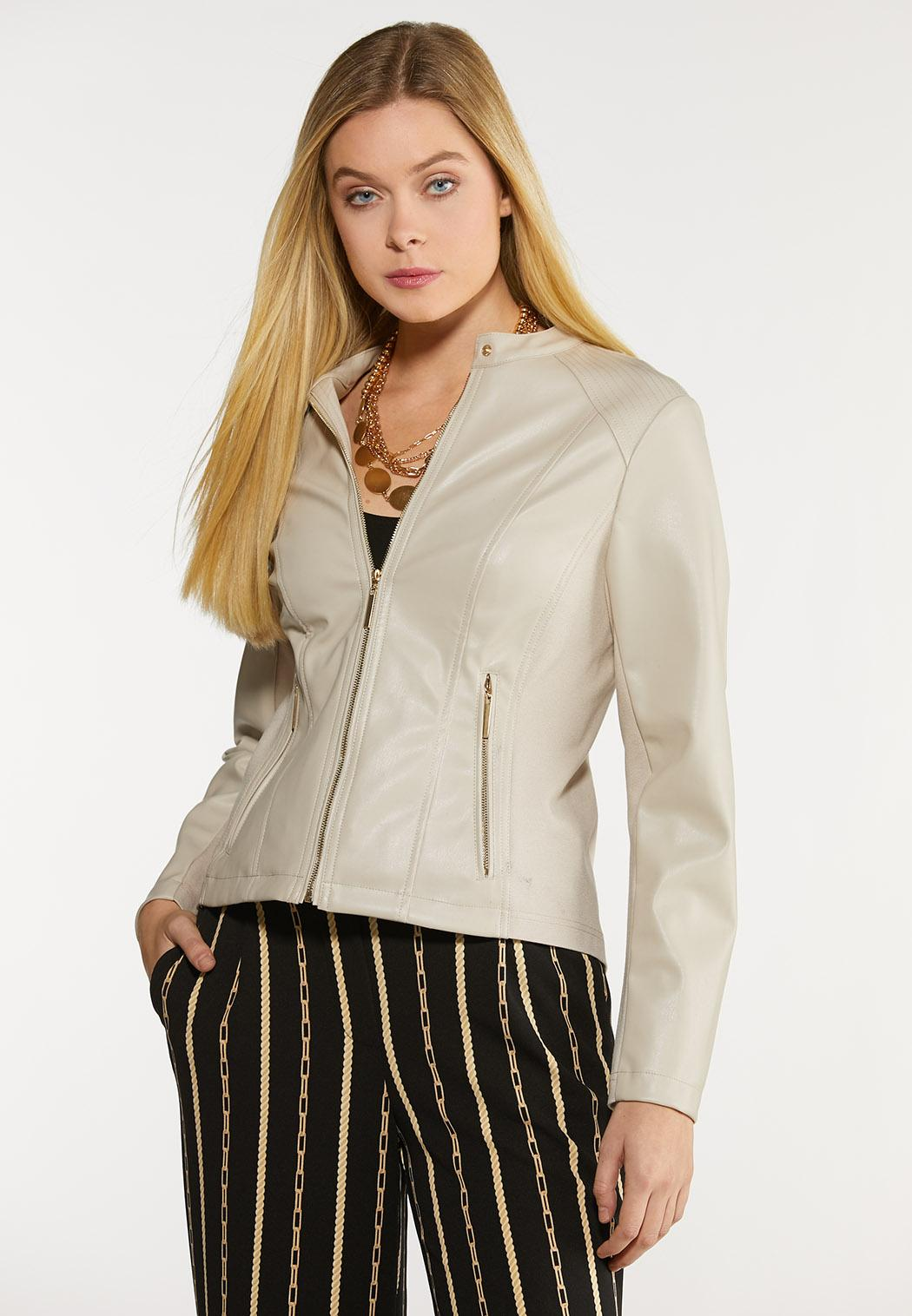Plus Size Faux Leather And Ponte Jacket (Item #44072947)