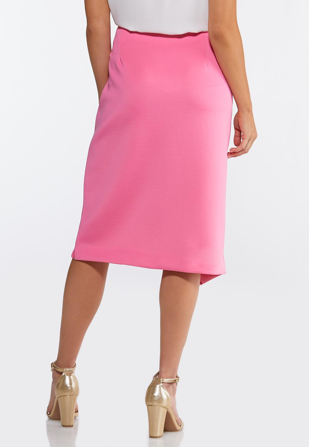 Plus Size Asymmetrical Button Pencil Skirt (Item #44072999)