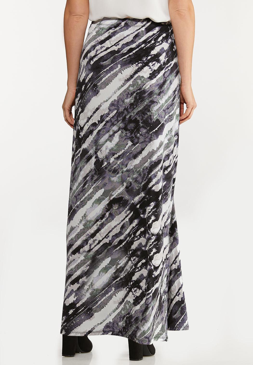 Plus Size Watercolor Faux Wrap Maxi Skirt (Item #44073055)