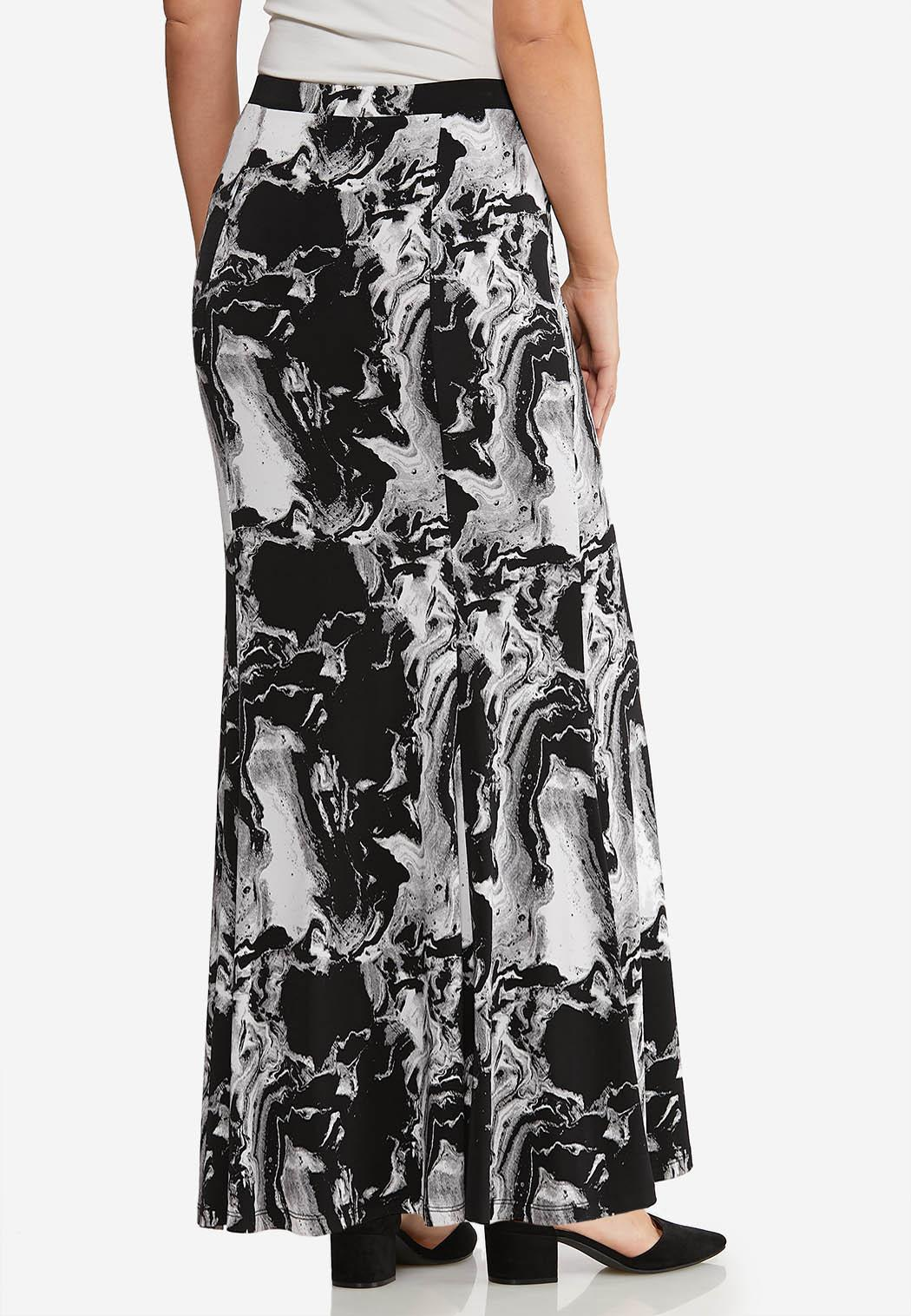Plus Size Marble Maxi Skirt (Item #44073129)