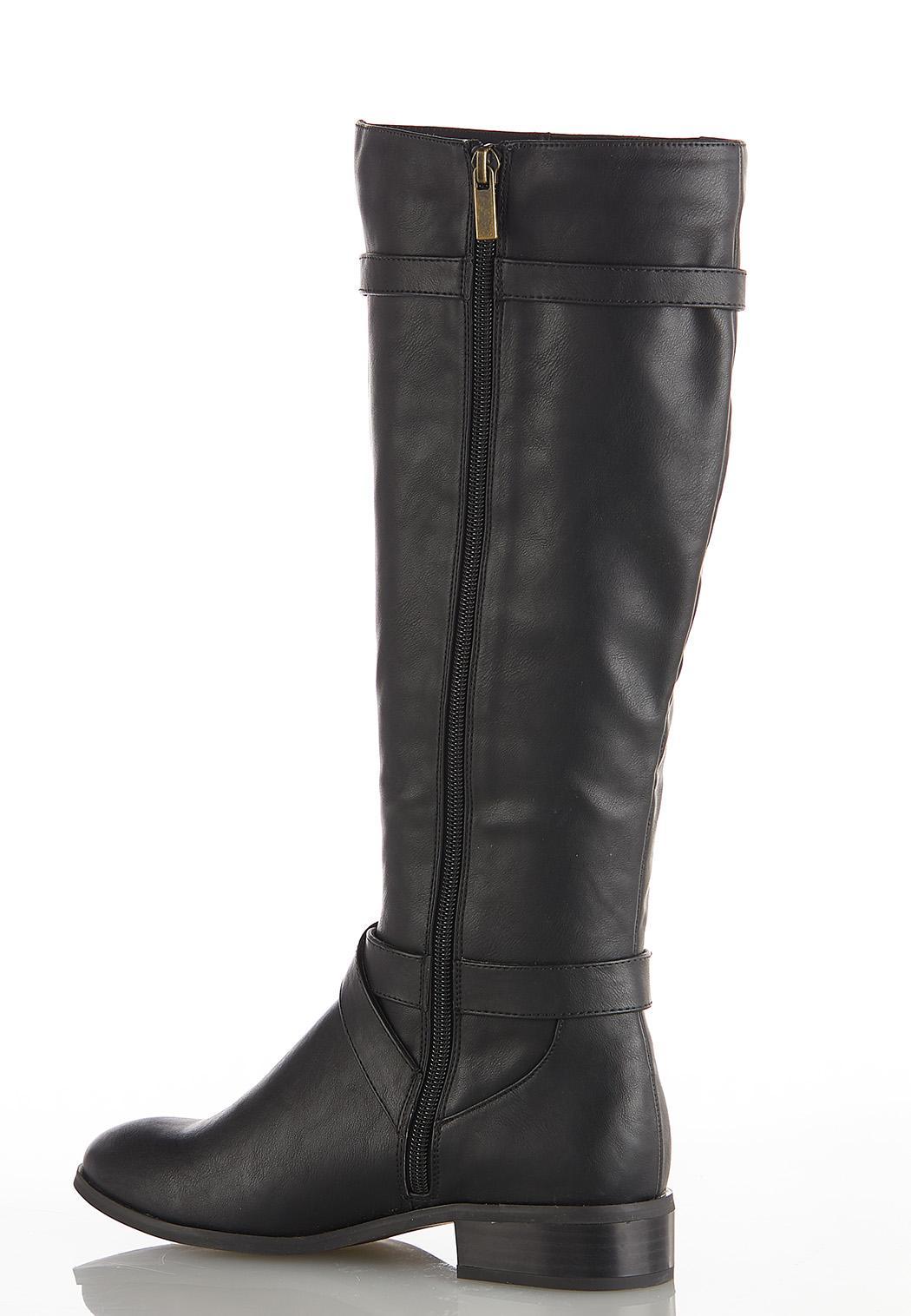 Wide Width Croc Inset Riding Boots (Item #44073437)