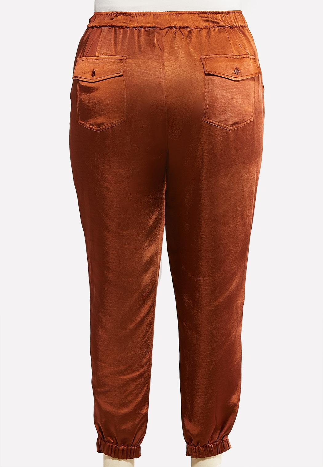 Plus Size Belted Satin Joggers (Item #44074369)