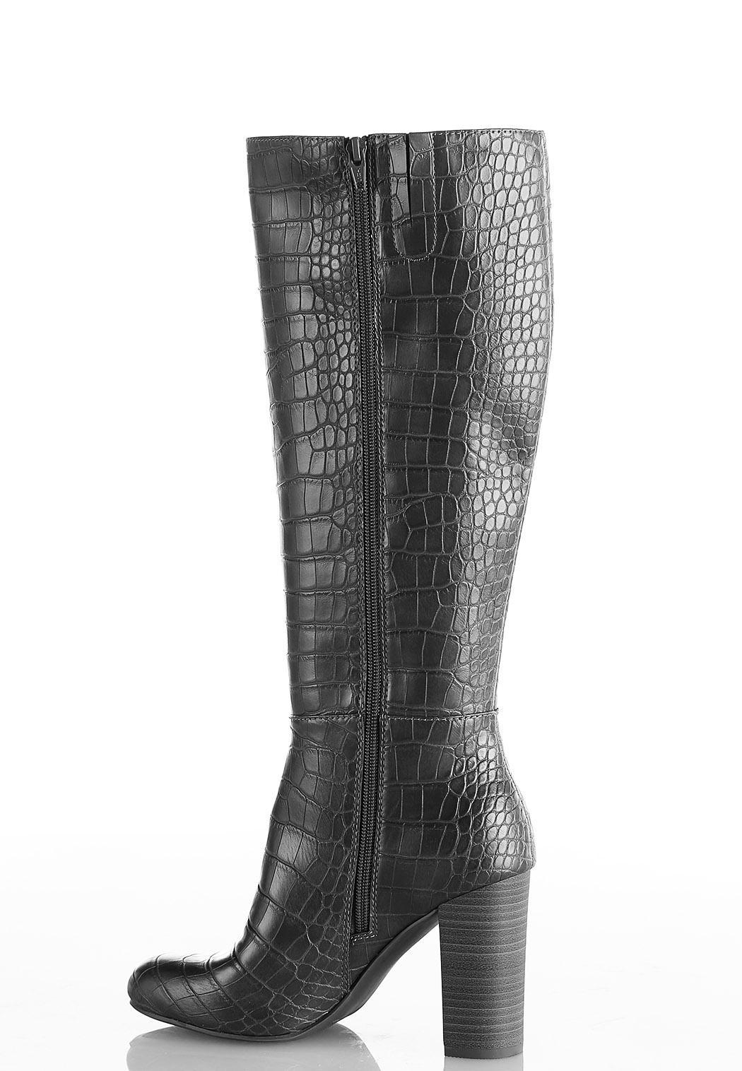 Wide Width Crocodile Tall Boots (Item #44075063)