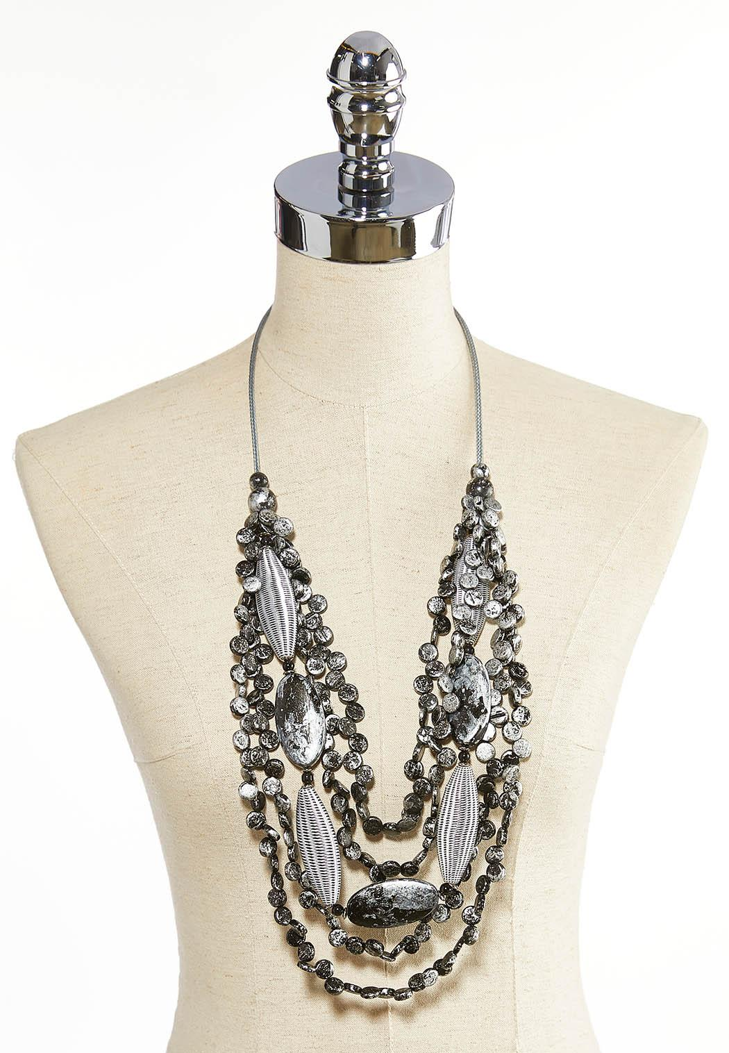Fabric And Wood Statement Necklace (Item #44075075)
