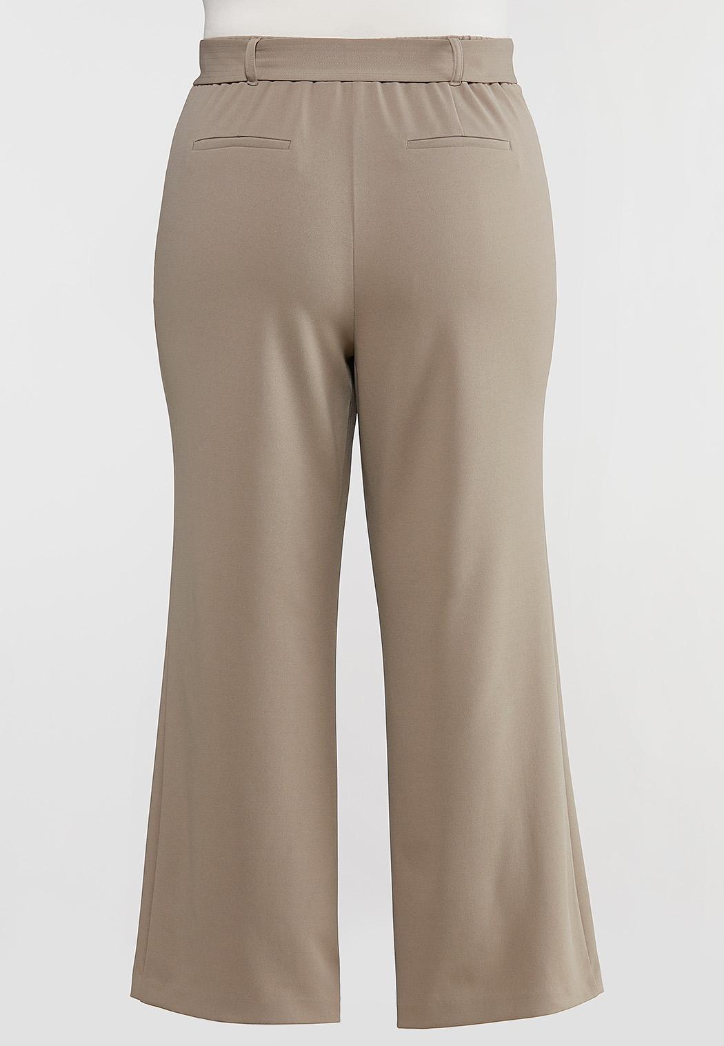 Plus Size Tortoise Belt Knit Pants (Item #44075384)