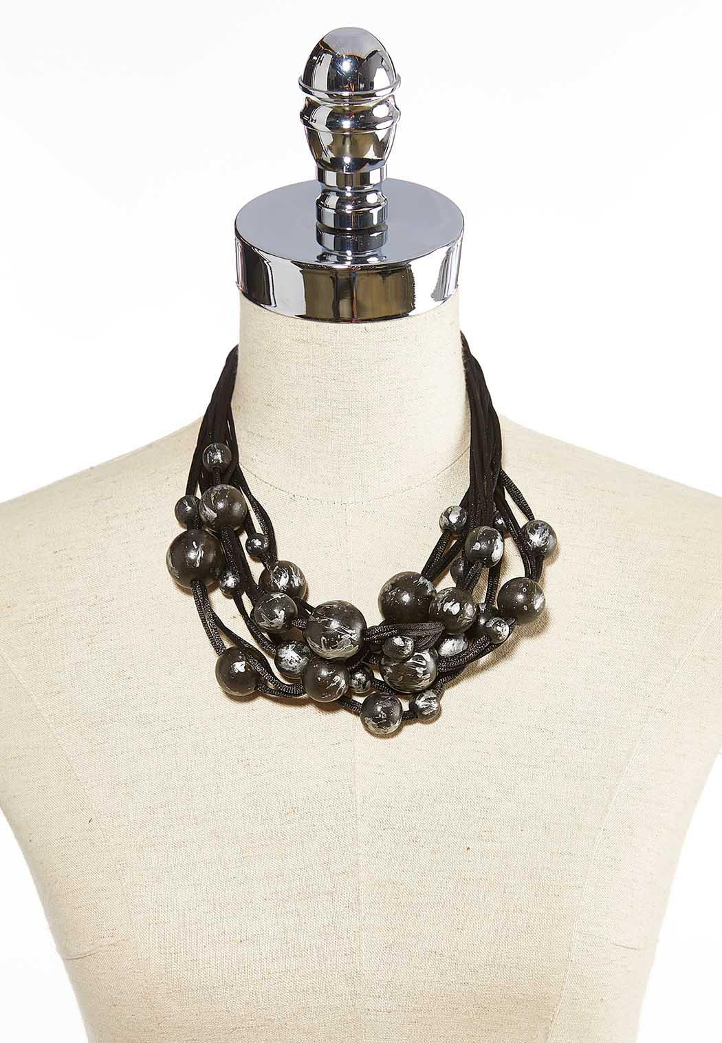 Black Chunky Bead Necklace (Item #44075555)