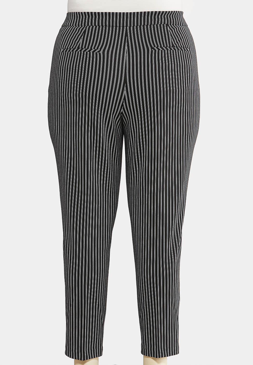 Plus Size Stripe Silver Button Pants (Item #44075648)