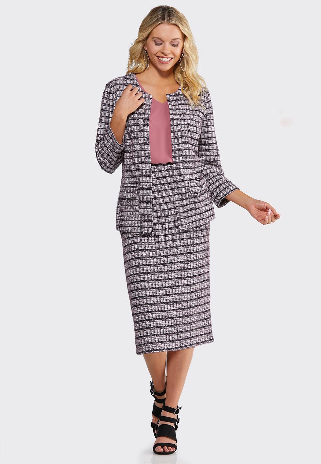 Plus Size Tweed Pencil Skirt (Item #44076785)