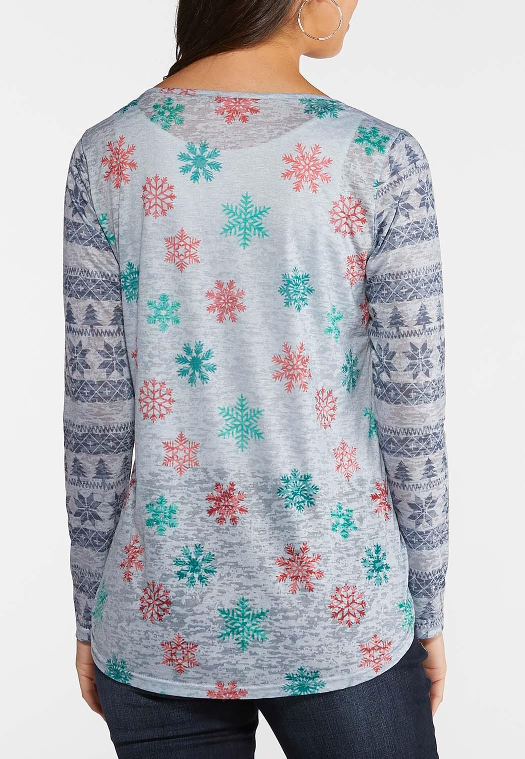 Plus Size Snowflake Burnout Top (Item #44077373)